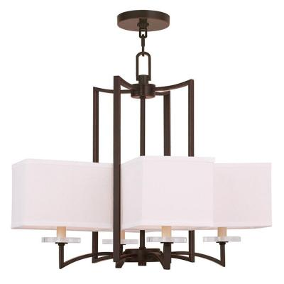 Woodland 4-Light Olde Bronze Chandelier with Hand Crafted Off-White Fabric Hardback Shade
