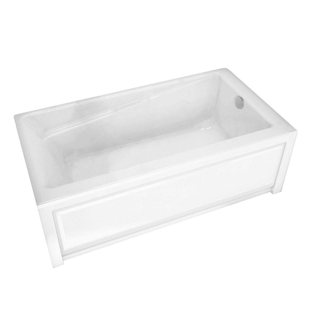 Maax new town 60 in acrylic right drain rectangular for Acrylic soaker tub
