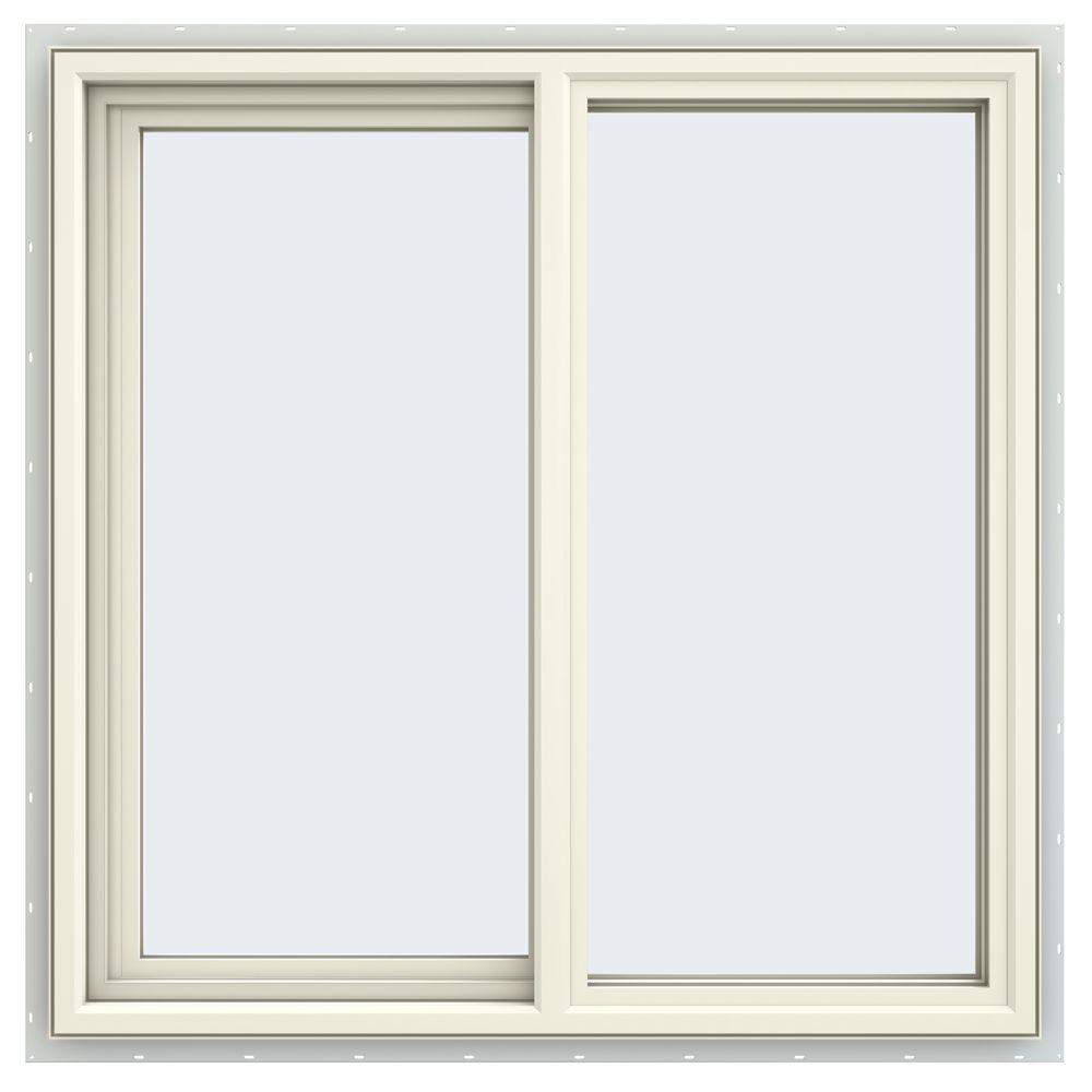 35.5 in. x 35.5 in. V-4500 Series Cream Painted Vinyl Left-Handed