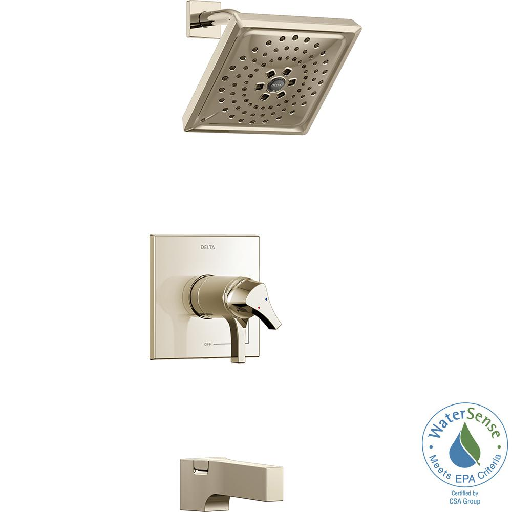 Delta Zura TempAssure 1-Handle Tub and Shower Faucet Trim Kit with H2Okinetic Spray in Polished Nickel (Valve Not Included)