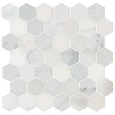 Arabescato Carrara 11.75 in. x 12 in. x 10 mm Honed Marble Mesh-Mounted Mosaic Tile (9.8 sq. ft. / case)