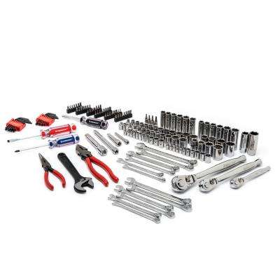 1/4 in. 3/8 in. and 1/2 in. Drive 6 and 12-Point SAE/Metric Mechanics Tool Set (170-Piece)