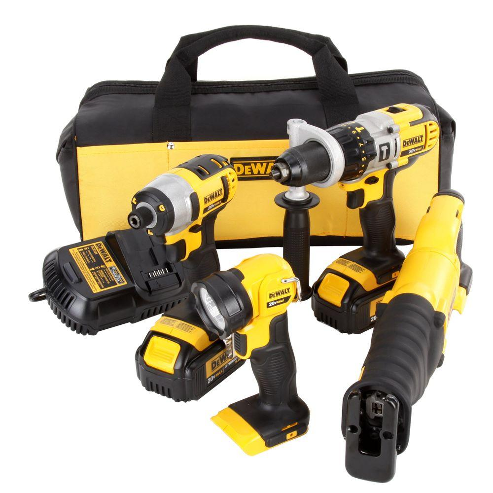 home depot dewalt drill. dewalt 20-volt max lithium-ion cordless combo kit (4-tool) with (2) batteries 3ah, charger and contractor bag-dck490l2 - the home depot dewalt drill