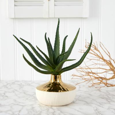 12 in. Aloe Succulent Artificial Plant in Gold and Cream Elegant Planter