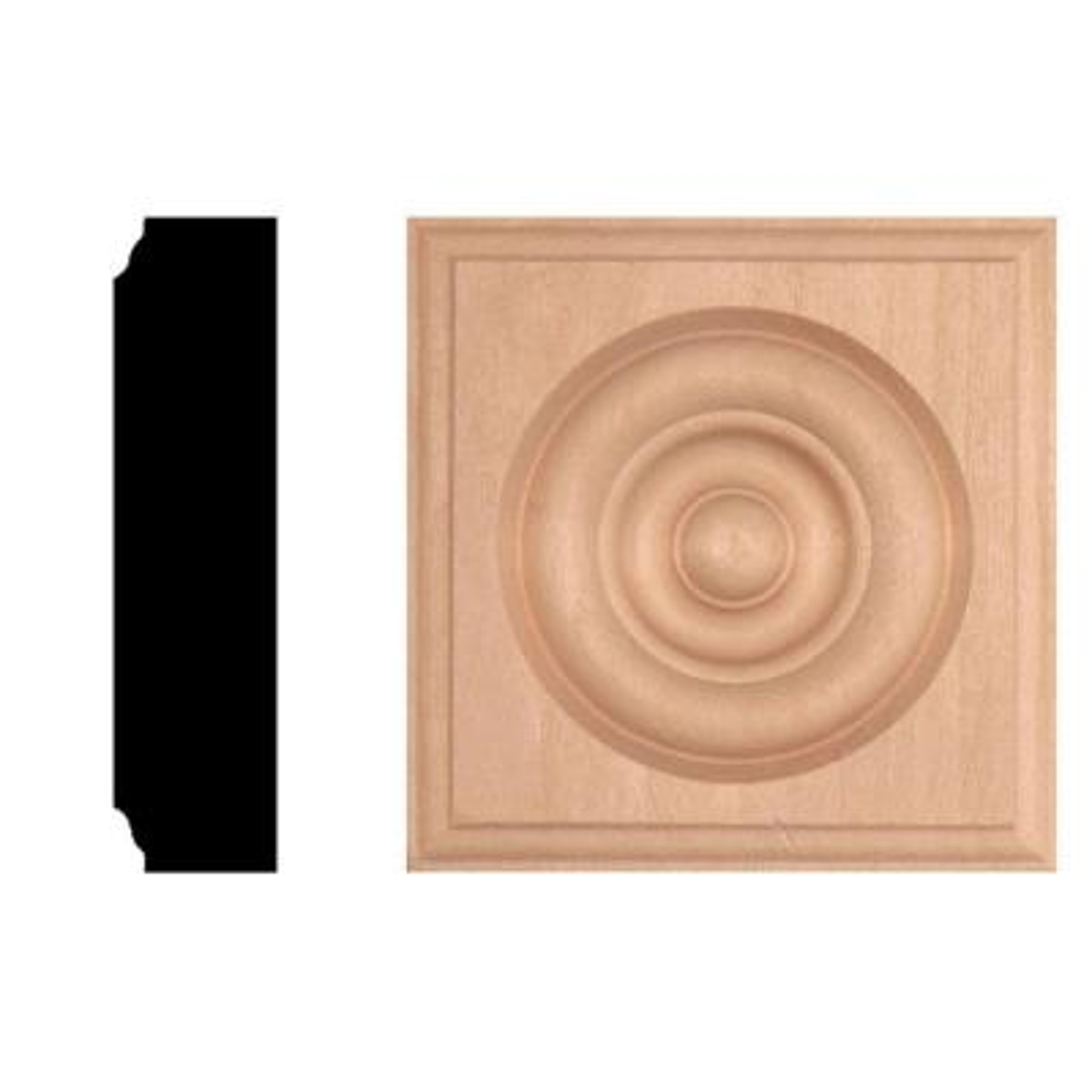 7/8 in. x 3-1/2 in. x 3-1/2 in. Hardwood Rosette Block Moulding