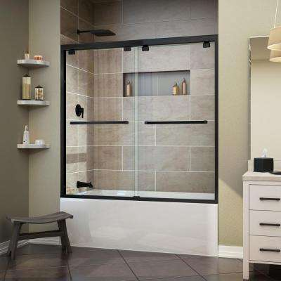 Encore 60 in. x 58 in. Frameless Sliding Tub Door in Satin Black