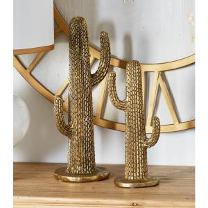 Cactus Polystone Sculpture in Gold(Set of 2) by