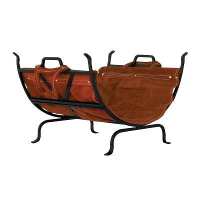 Black Wrought Iron 22 in. W Firewood Rack with Brown Suede Leather Carrier