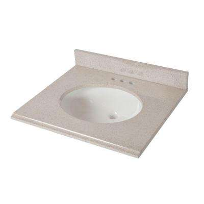 25 in. x 22 in. Colorpoint Vanity Top in Maui with White Bowl