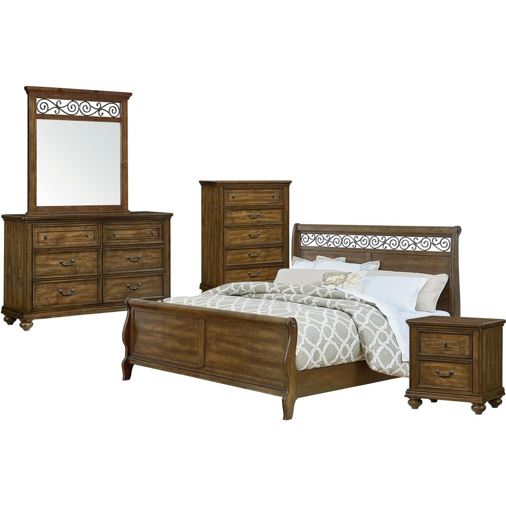 Cambridge Flemington 5 Piece Caramelized Pine King Size Bedroom Suite 98121a5k1 Lp The Home Depot