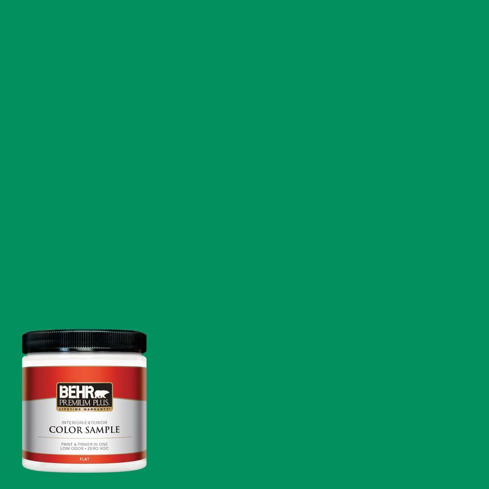 BEHR Premium Plus 8 oz. #470B-6 Emerald Lake Flat Zero VOC Interior/Exterior Paint and Primer in One Sample