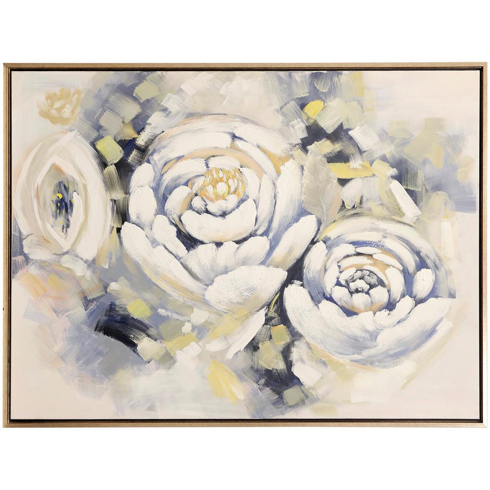 StyleCraft Posy Peonies Brass, Black Canvas, Metal Framed Wall Art, Ivory was $299.85 now $94.32 (69.0% off)