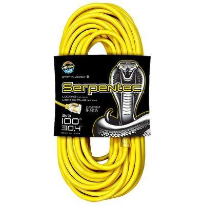100 ft. 12-3 Yellow Locking Extension Cord