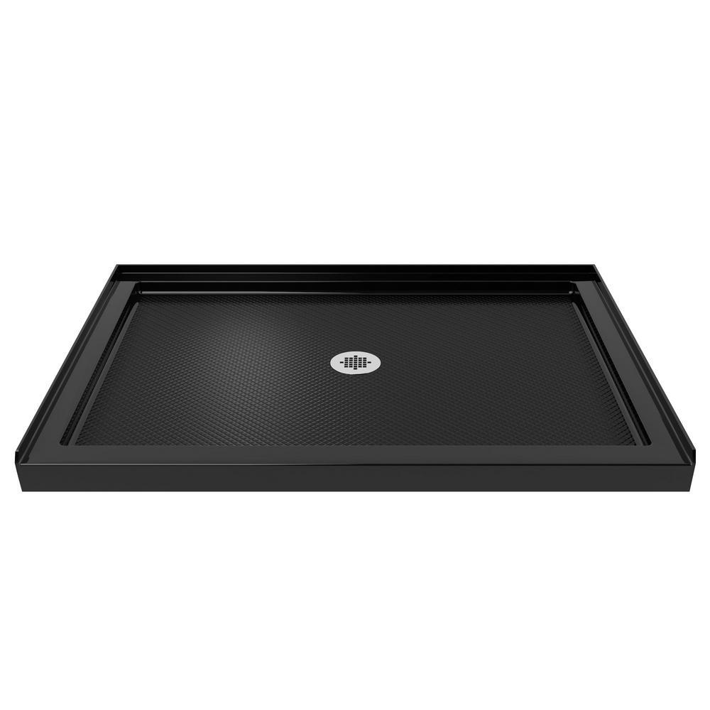 SlimLine 48 in. W x 34 in. D Single Threshold Shower Base in Black Color
