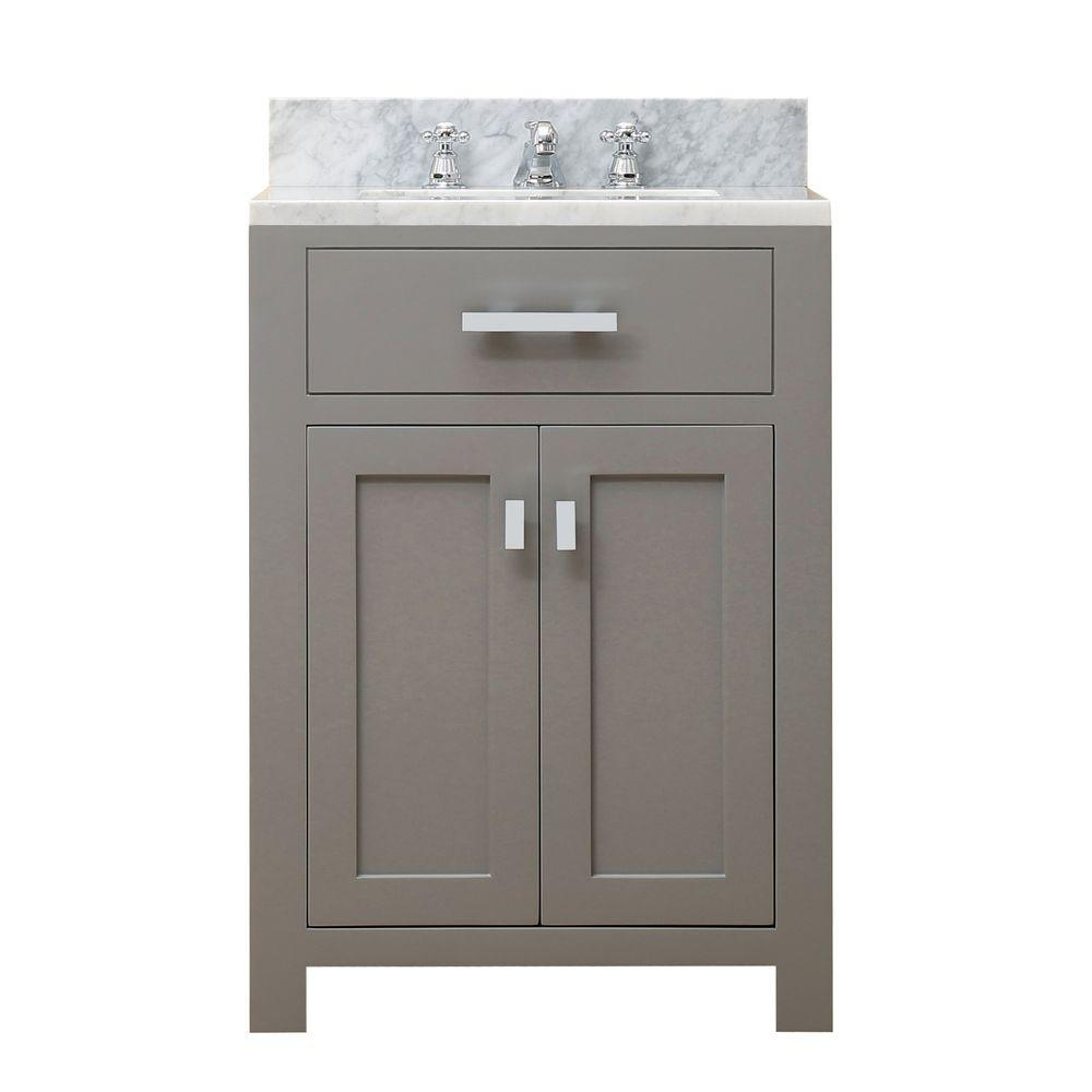 Water Creation 24 In. W X 21 In. D X 34 In. H Vanity In Cashmere Grey With  Marble Vanity Top In Carrara White Madison 24G   The Home Depot