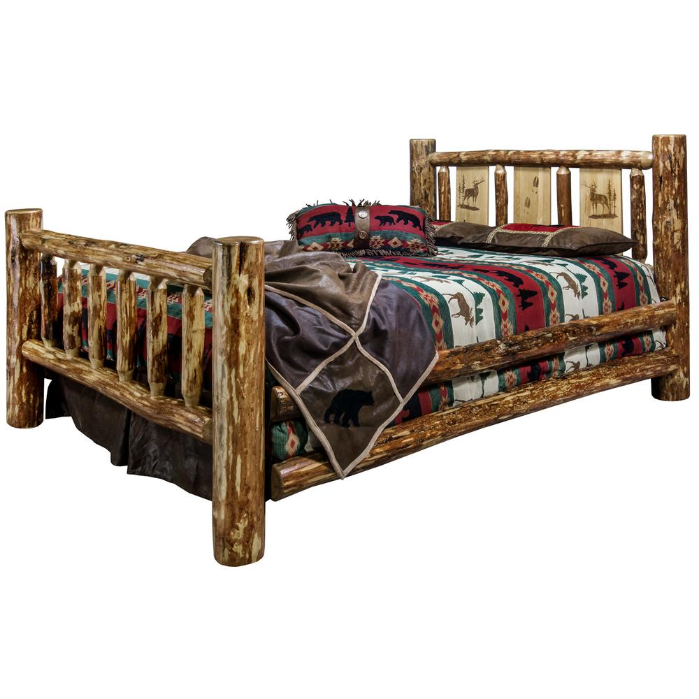 Glacier Brown King Laser Engraved Elk Motif Spindle Style Bed