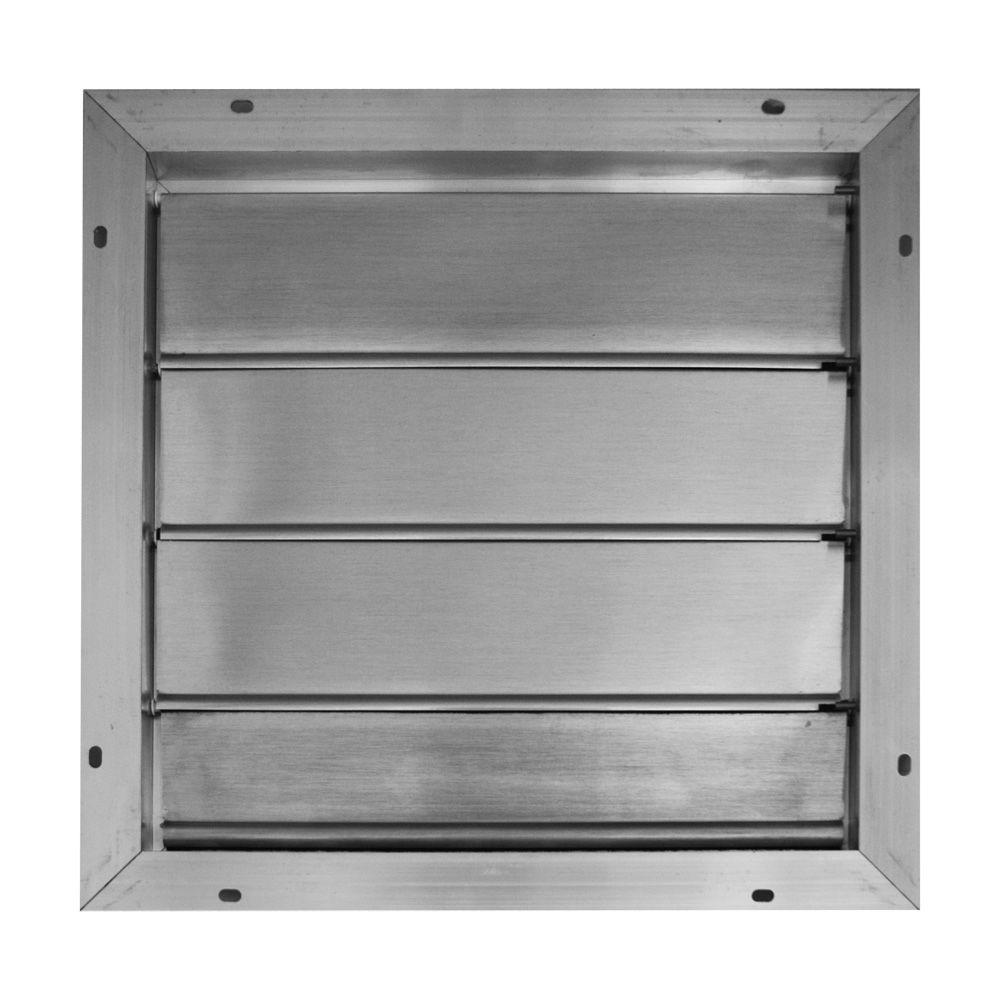 Broan 16.75 in. x 16.75 in. Aluminum Automatic Gable Square Mount Louvered Shutter Attic Vent
