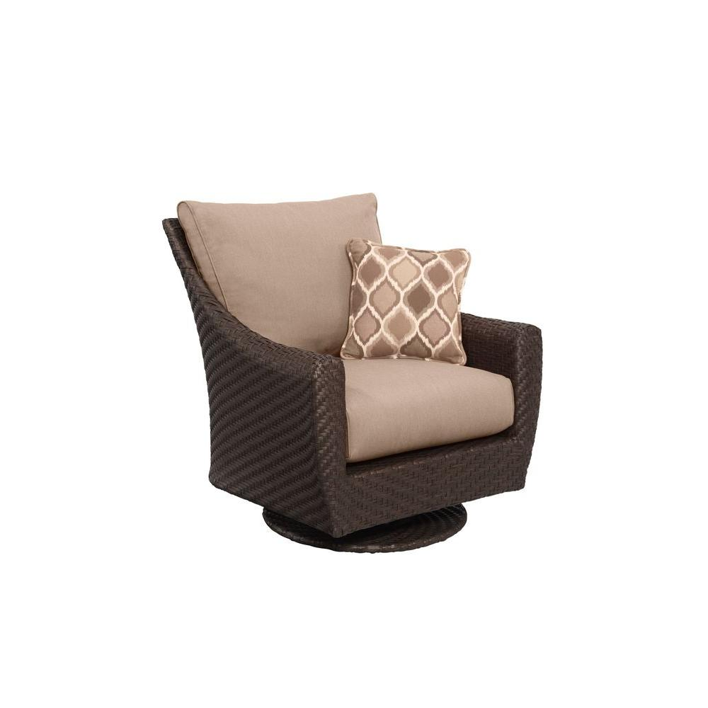 Brown Jordan Highland Patio Motion Lounge Chair in Sparrow with Empire Stonehenge Throw Pillow -- CUSTOM
