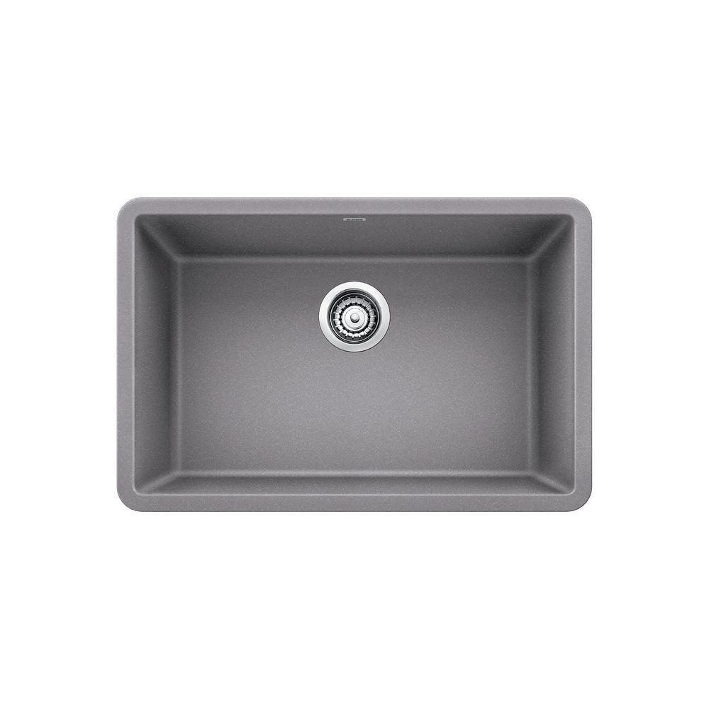 blanco precis undermount granite composite 27 in single bowl kitchen sink in metallic gray