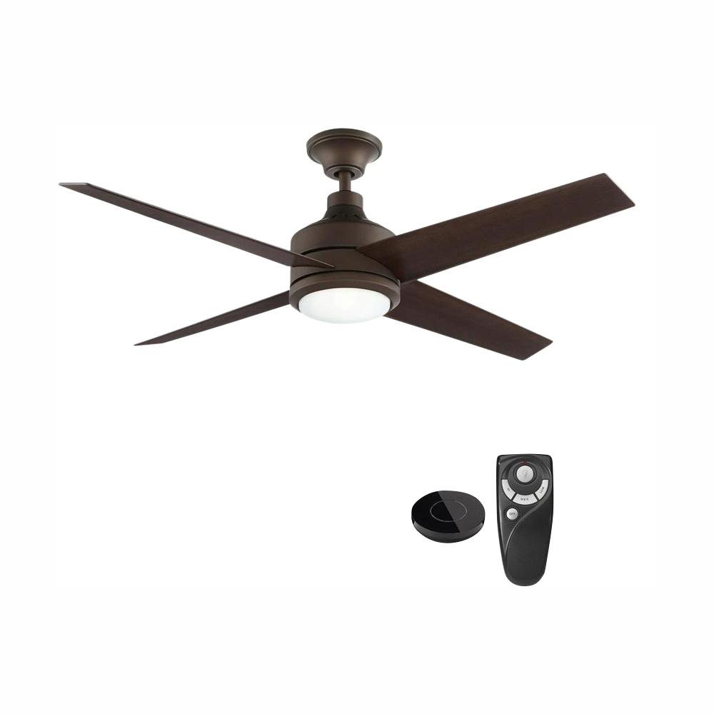 Home Decorators Collection Mercer 52 in. Integrated LED Indoor Oil Rubbed Bronze Ceiling Fan with Light Kit works with Google Assistant and Alexa