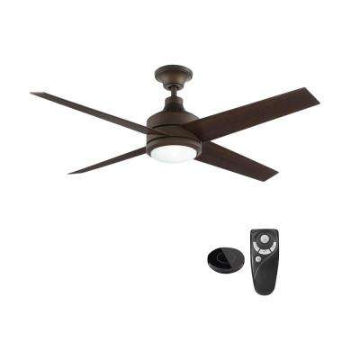 Mercer 52 in. Integrated LED Indoor Oil Rubbed Bronze Ceiling Fan with Light Kit works with Google Assistant and Alexa