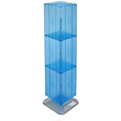 64 in. H x 14 in. W Interlock Pegboard Tower on a Revolving Base with Wheels in Blue