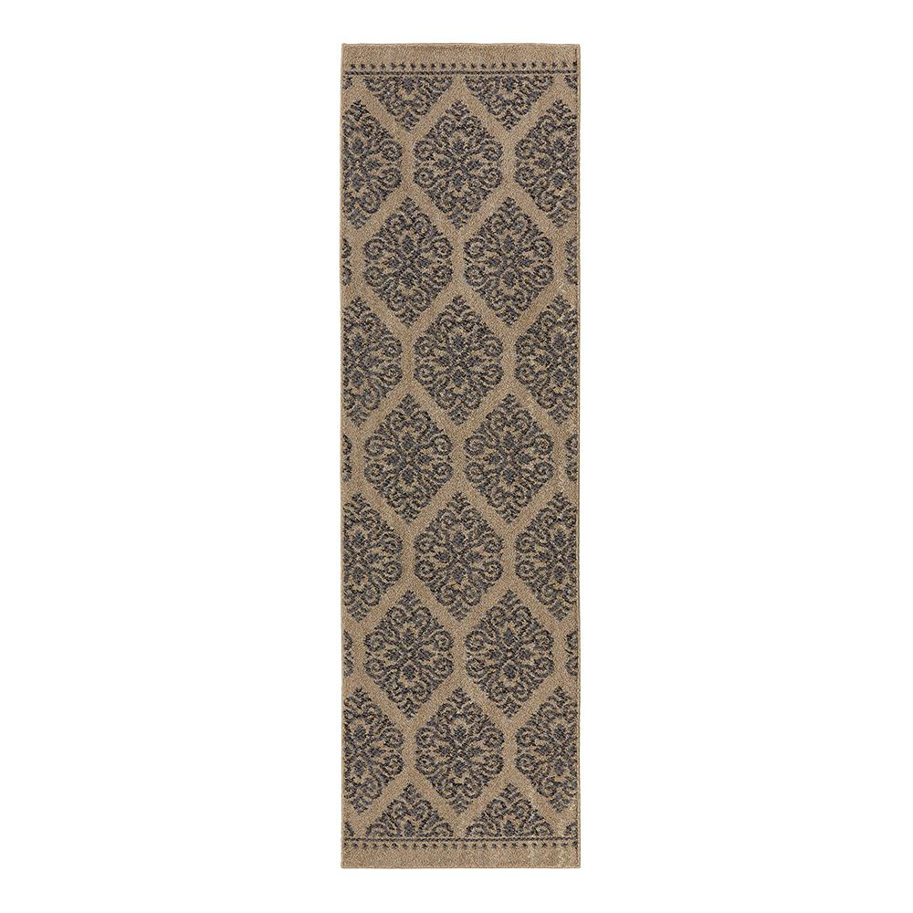 Border Loop Grey Cream 2 Ft X 8 Ft Runner 513986 The