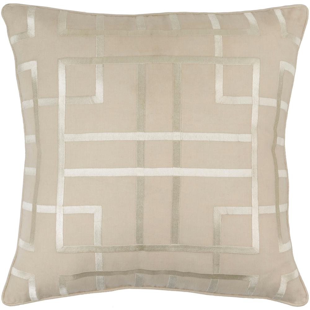 Stenhouse Beige Geometric Polyester 20 in. x 20 in. Throw Pillow