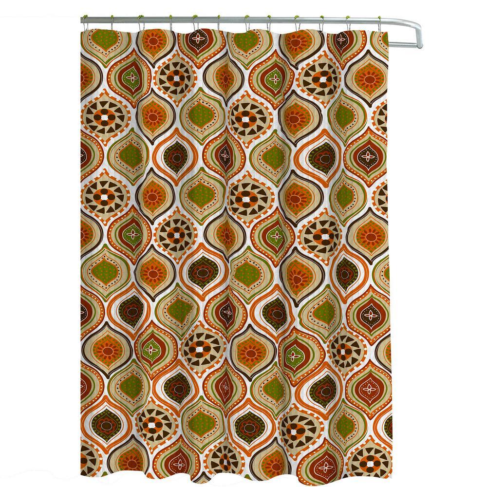 Creative Bath 12 Decorative African motif Rolling Shower Curtain Hooks Brown