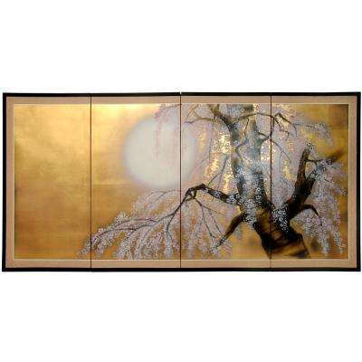 "36 in. x 72 in. ""Gold Leaf Sakura Blossom"" Wall Art"