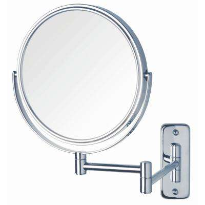 8 in. Dia Bi-View Wall Mount Makeup Mirror in Chrome