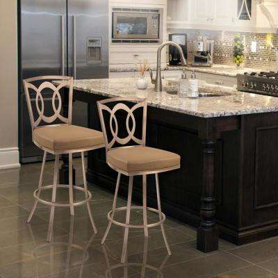 Drake 30 in. Camel Fabric and Gold Finish Transitional Swivel Barstool