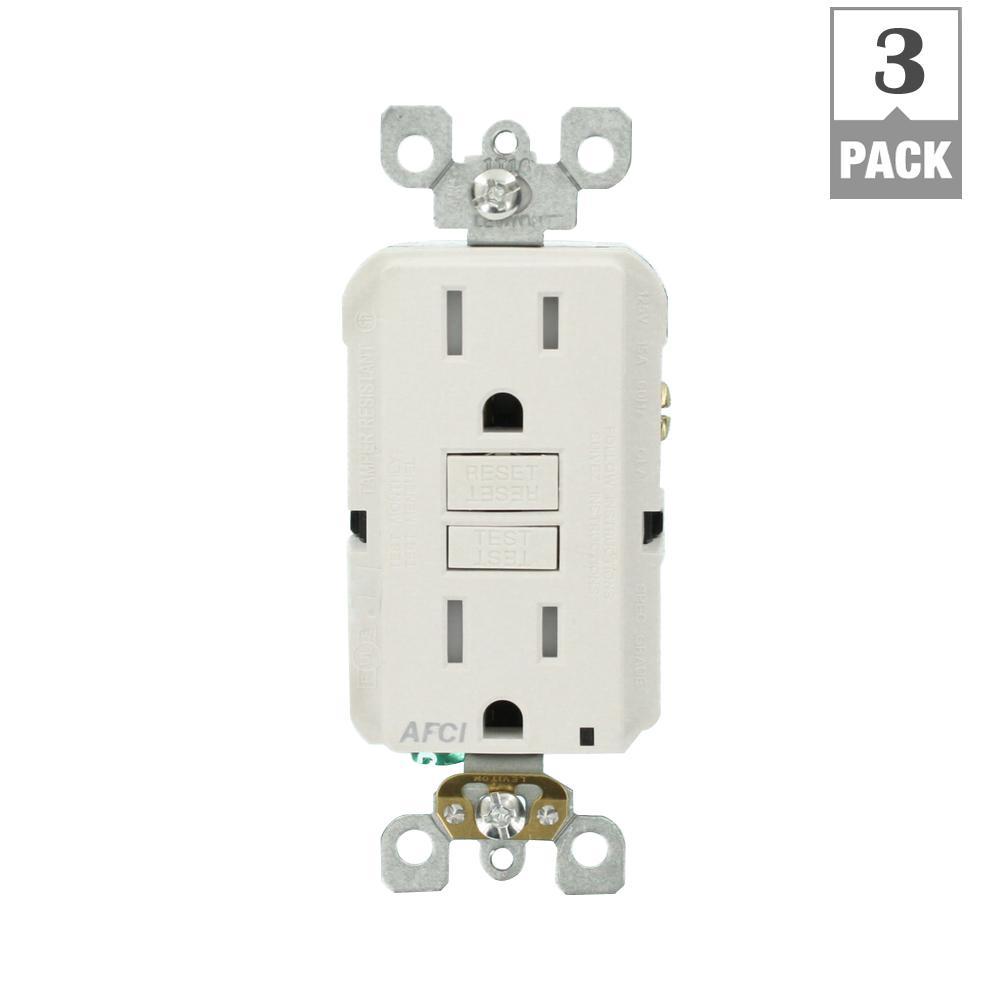 15 Amp Tamper Resistant AFCI Outlet, White (3-Pack)