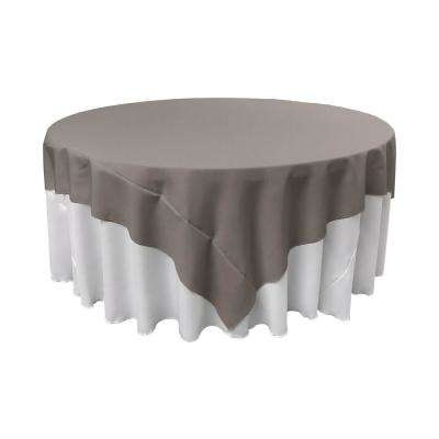 72 in. x 72 in. Dark Gray Polyester Poplin Square Tablecloth
