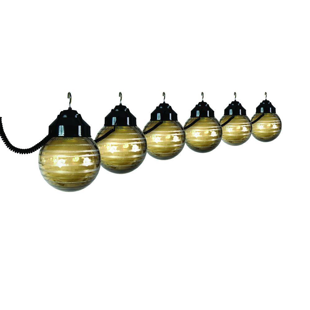 6-Light Outdoor Black and Etched Bronze String Light Set