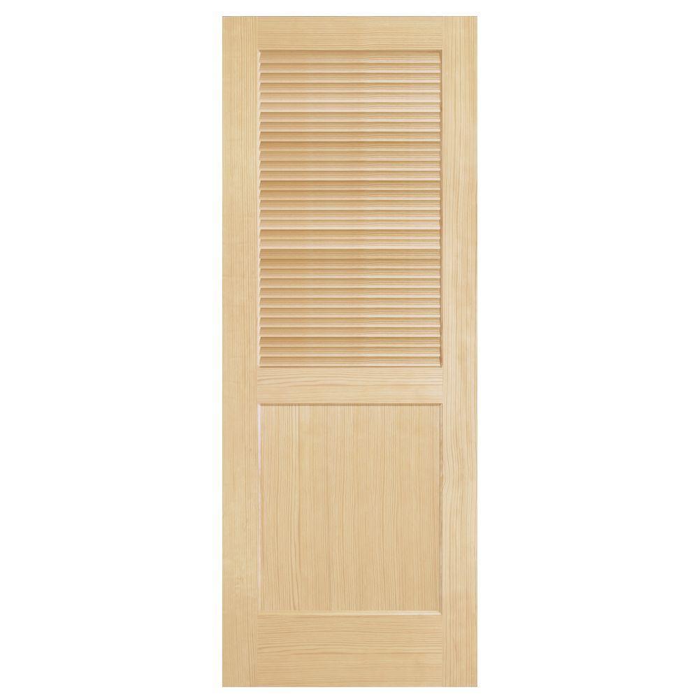 Steves & Sons Louver-Panel Solid Core Pine Interior Door Slab Door