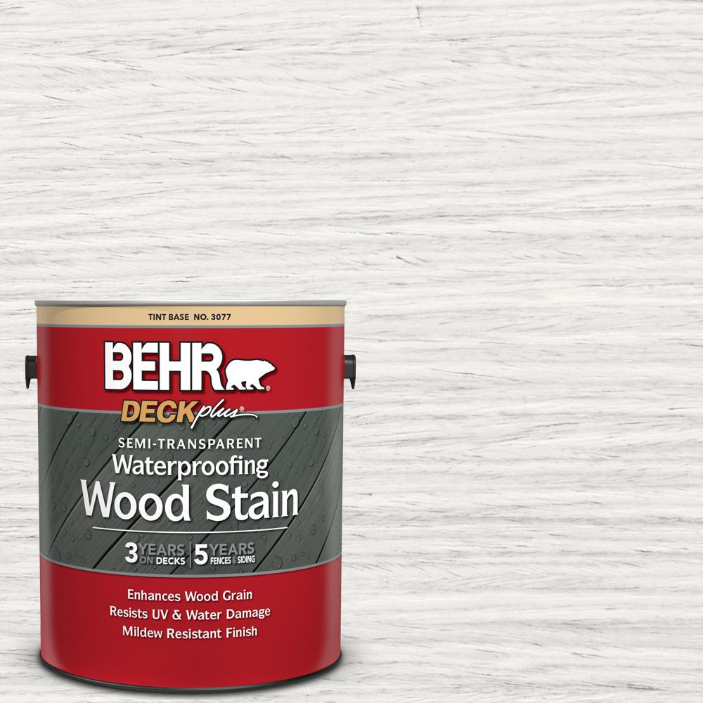 Exterior White Stain For Wood: BEHR DECKplus 1 Gal. #ST-210 Ultra Pure White Semi