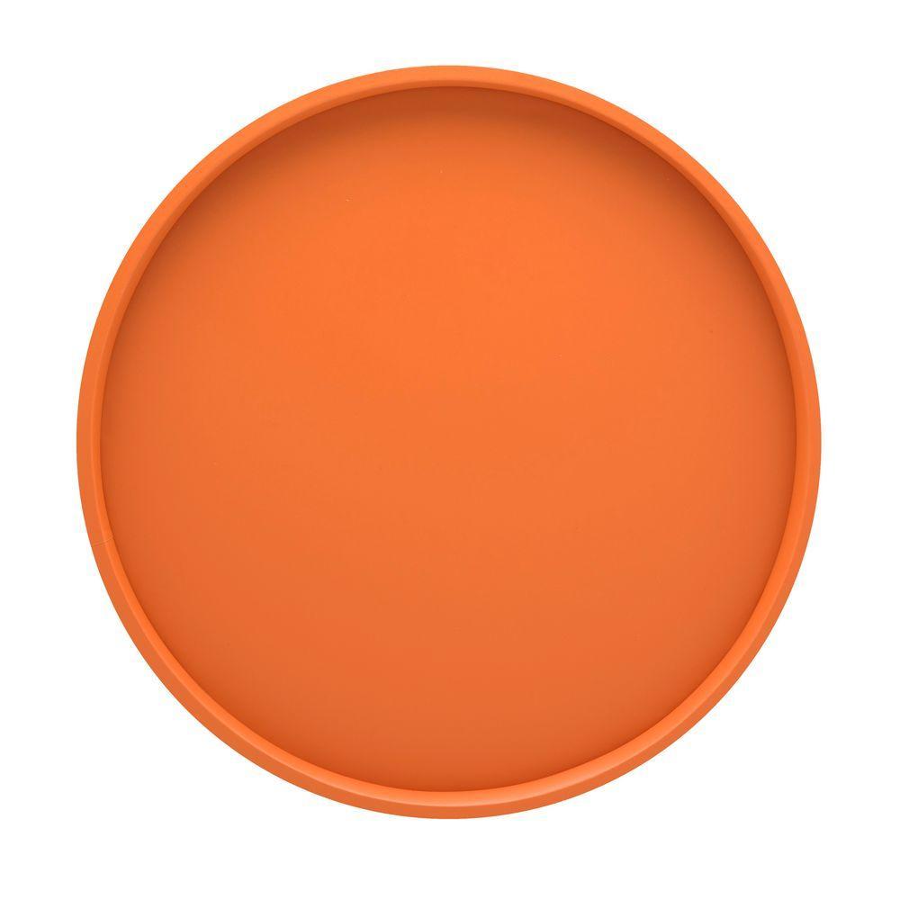 14 in. Round Serving Tray in Spicy Orange