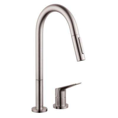 Axor Citterio M Single-Handle Pull-Down Sprayer Kitchen Faucet in Steel Optik