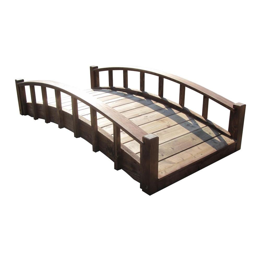 6 ft. Japanese Wood Garden Moon Bridge with Arched Railings -