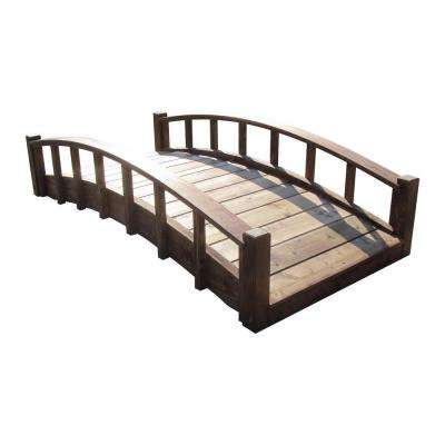 6 ft. Japanese Wood Garden Moon Bridge with Arched Railings - Treated