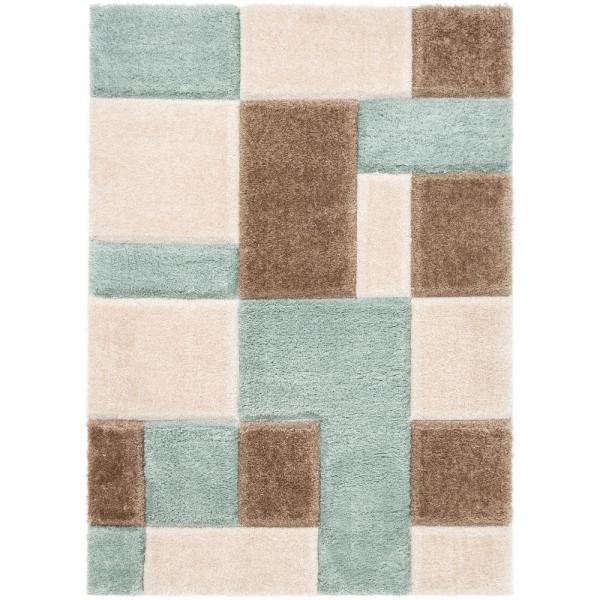 San Francisco Escondido Blue Modern Geometric Squares 5 ft. 3 in. x 7 ft. 3 in. 3D Carved Shag Area Rug