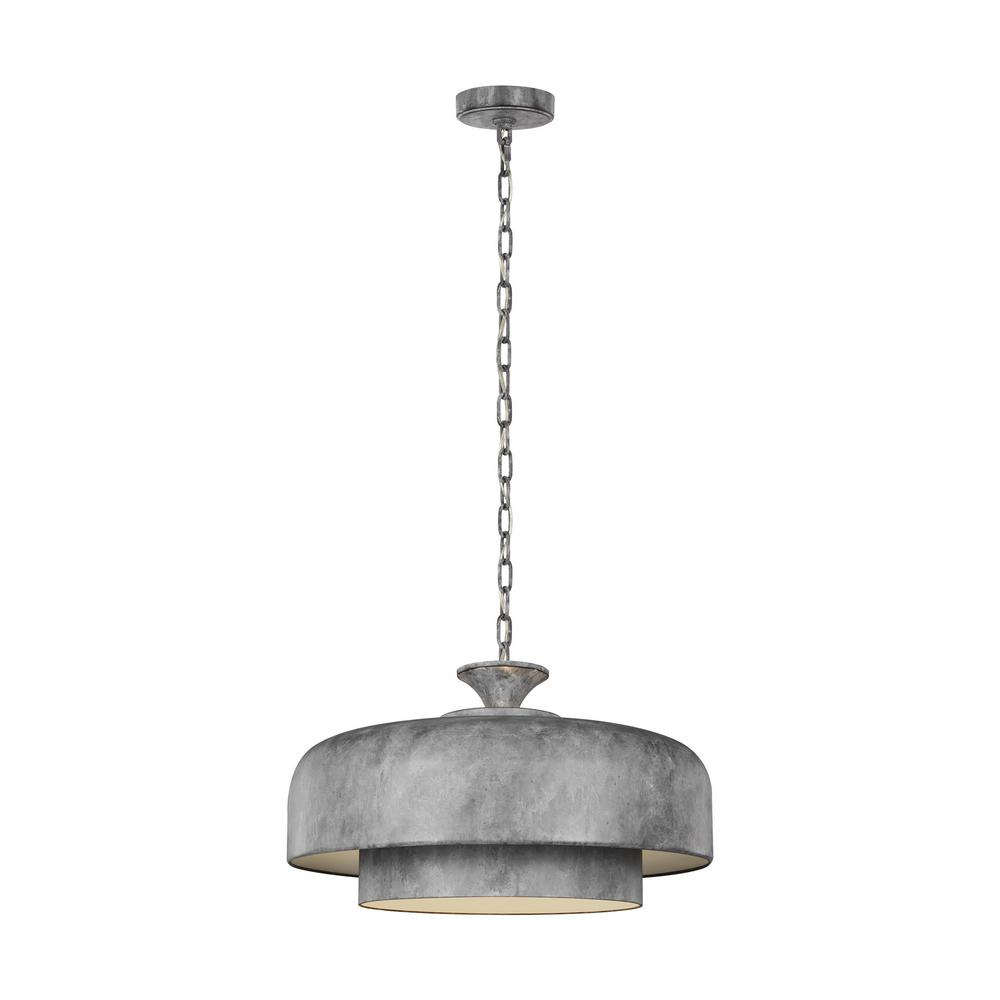 ED Ellen DeGeneres Crafted by Generation Lighting Haymarket 1-Light Weathered Galvanized Pendant with White Inner Finish