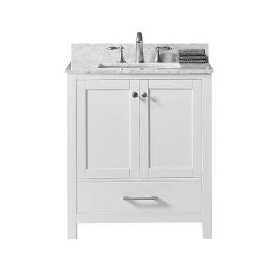 Colette 30 in. W x 22 in. D x 34.2 in. H Bath Vanity in White with Carrara Marble Vanity Top in White with White Basin