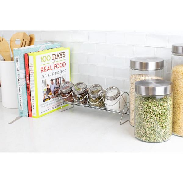 Sleek Spice Rack with 4 Air-tight Glass Spice Jars