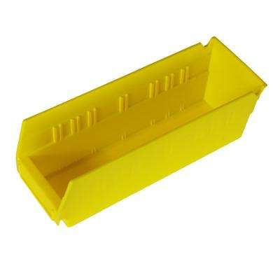 6 in. W x 11-1/2 in. D x 4 in. H 1.2 Gal. Plastic Stackable Storage Bin in Yellow (24-Pack)