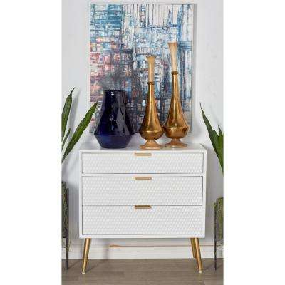 White 3-Drawer Wooden Chest with Gold Accents