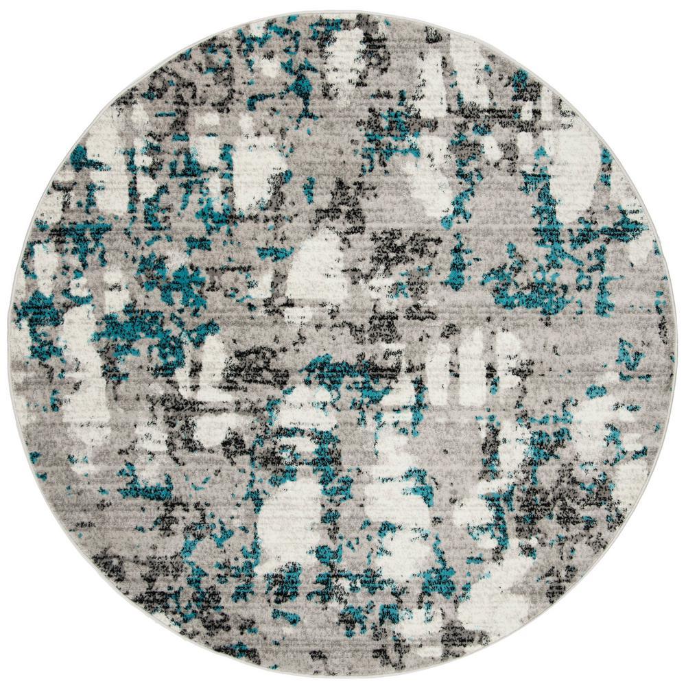 Skyler Gray/Blue 7 ft. x 7 ft. Round Area Rug