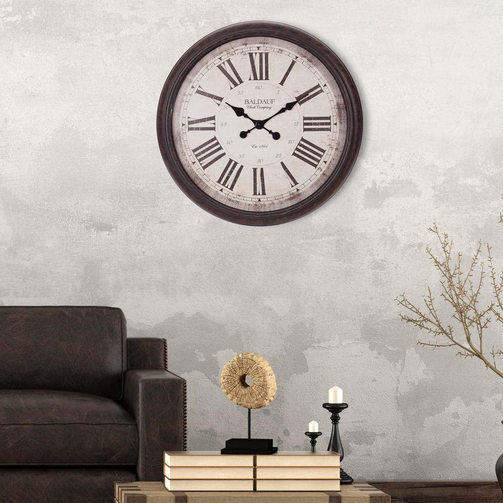 Pinnacle Baldaud Roman Numeral Antique Bronze Wall Clock