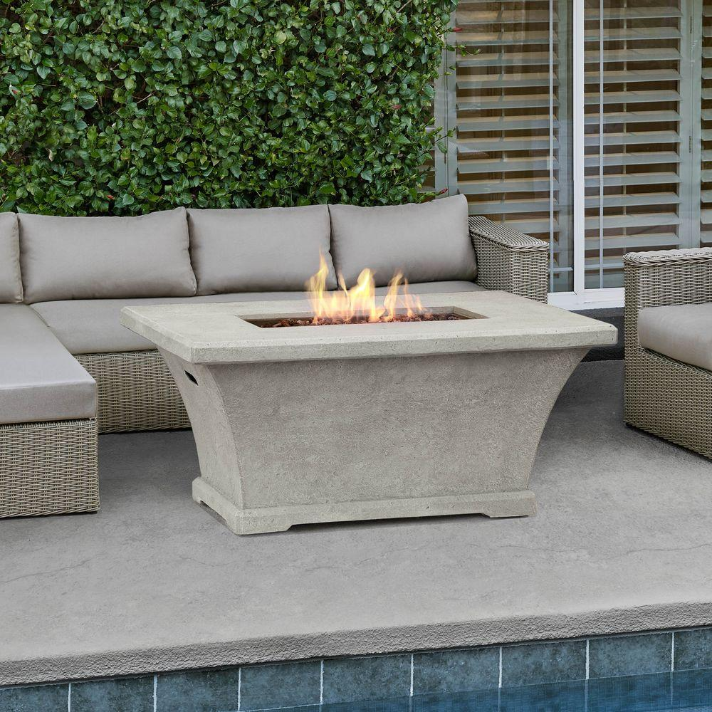 Fiber concret rectangle chat height propane gas fire pit in cream